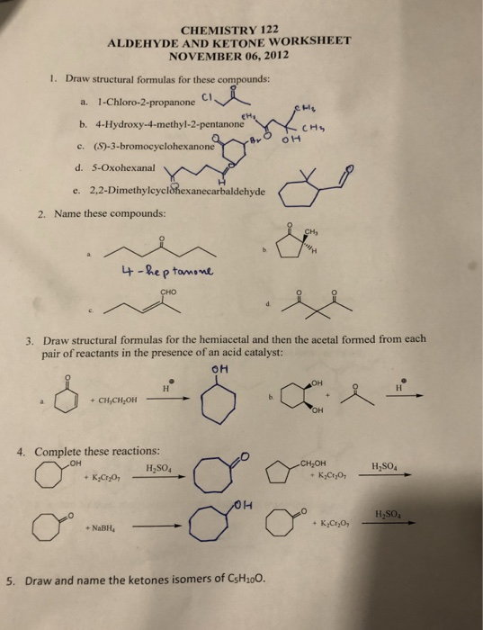 Solved Chemistry 122 Aldehyde And Ketone Worksheet Novemb