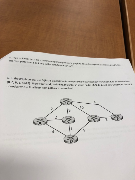 Solved: S  True Or False: Let T Be A Minimum Spanning Tree