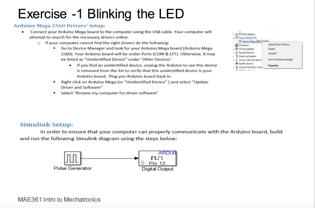 Exercise -1 Blinking The LED Arduino Mega 2560 Dri