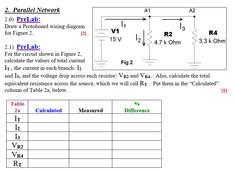 Solved: A1 A2 2. Parallel Network 2.0) PreLab: Draw A Prot ... on