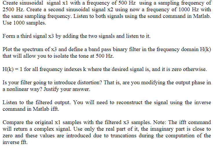 Solved: MATLAB Code For Filtering/ Discrete Fourier Transf
