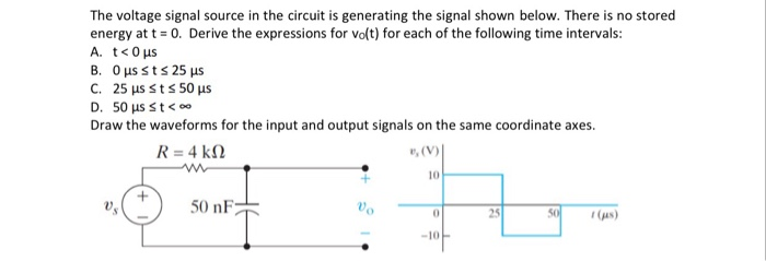 Solved: The Voltage Signal Source In The Circuit Is Genera