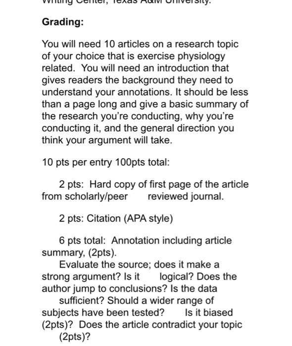 Grading: You Will Need 10 Articles On A Research T