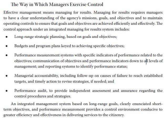 The Way in Which Managers Exercise Control Effective management means managing for results. Managing for results requires man