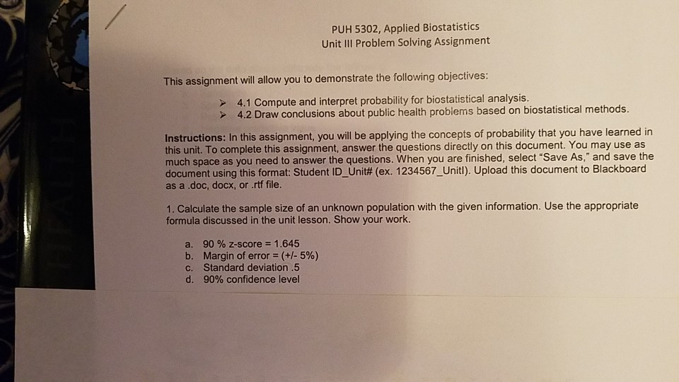 Solved: PUH 5302, Applied Biostatistics Unit I Problem Sol