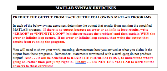 Solved: MATLAB SYNTAX EXERCISES PREDICT THE OUTPUT FROM EA