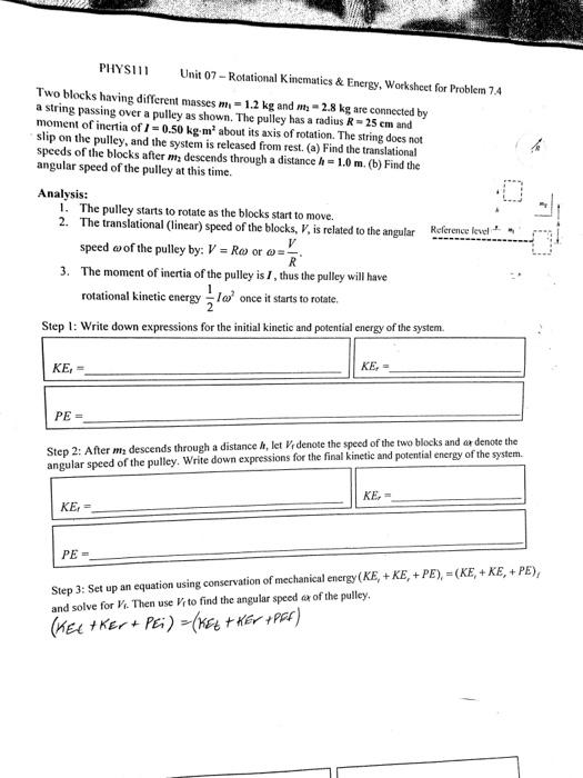 Solved: PHYS111 Unit 07-Rotational Kinematics &Energy, Wor ...