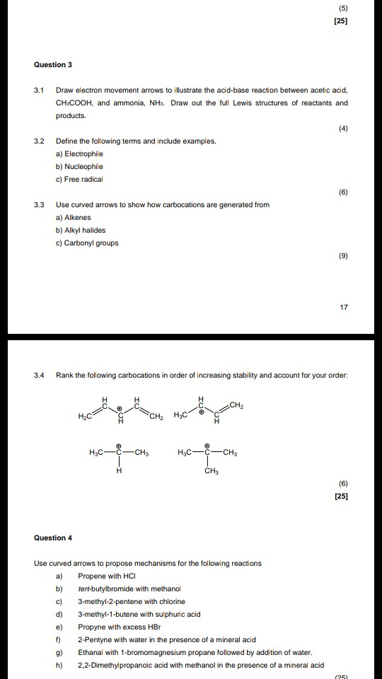 125) Question 3 3.1 Draw electron movement arrows to illustrate the acd-base reaction between acetic acid, CHsCOOH, and ammon