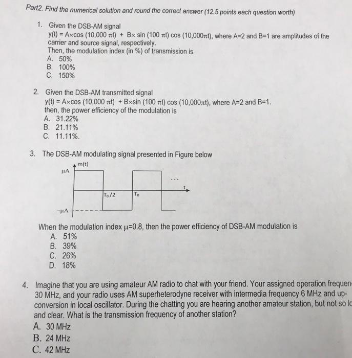 Solved: Part1  Multiple Choice Quiz (5 Points Each Questio