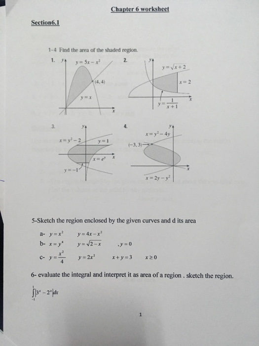 Solved Chapter 6 Worksheet Section 1 4 Find The Area Of T