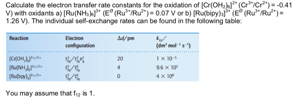 Electron Transfer Rate Constants