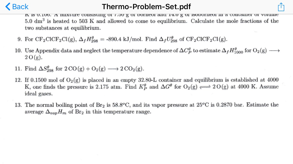 Solved: KBack Thermo-Problem-Set pdf 5 0 Dm3 Is Heated To