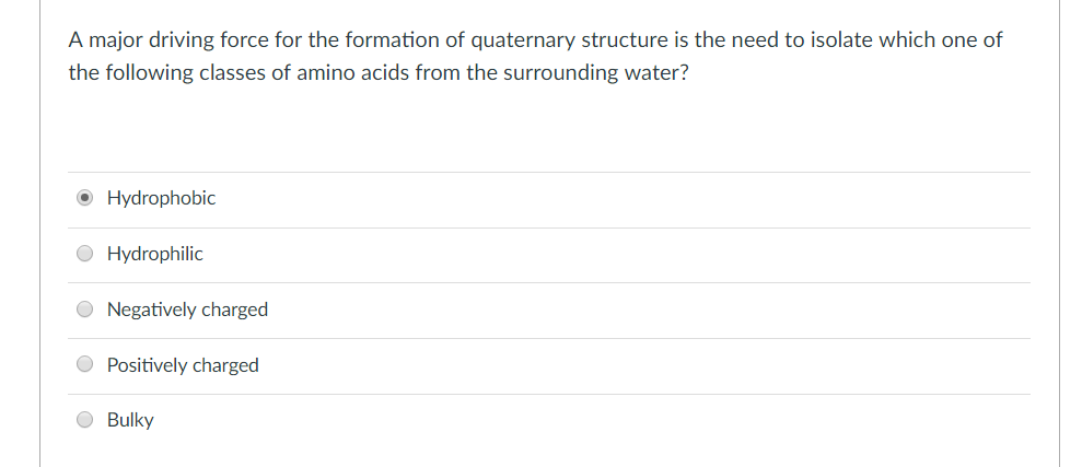 A major driving force for the formation of quaternary structure is the need to isolate which one of the following classes of