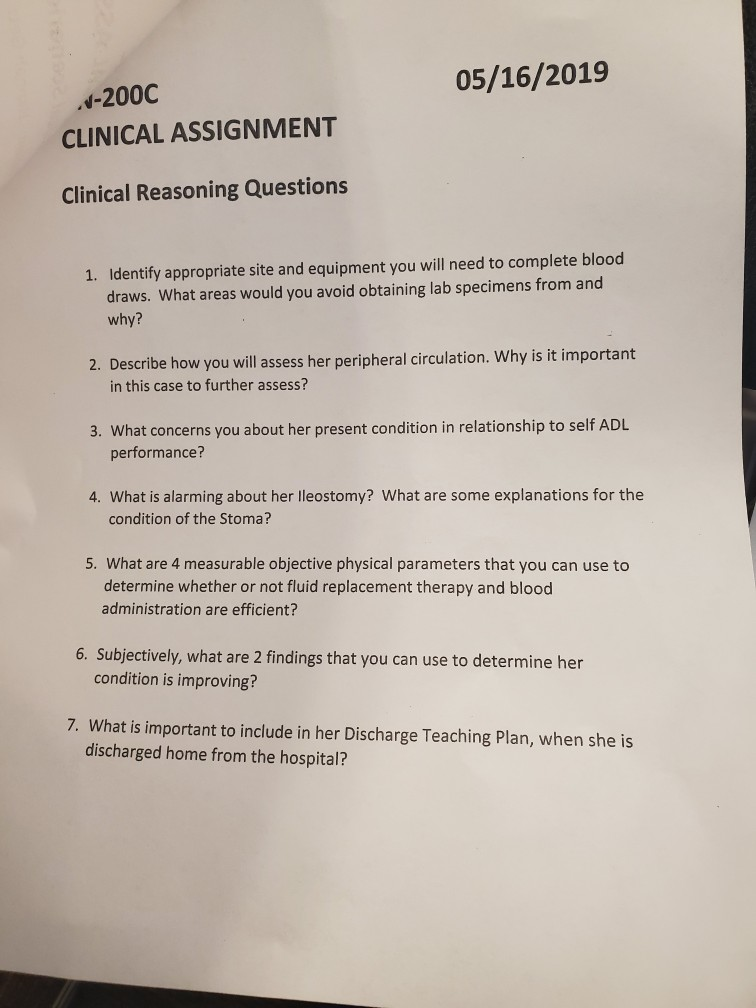 Solved: 05/16/2019 PN-200C CLINICAL ASSIGNMENT Clinical Sc