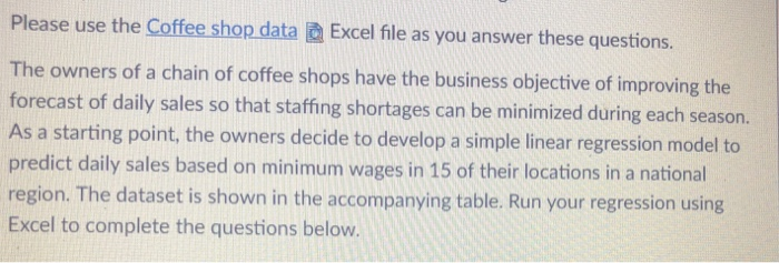 Solved: Please Use The Coffee Shop Data @ Excel File As Yo