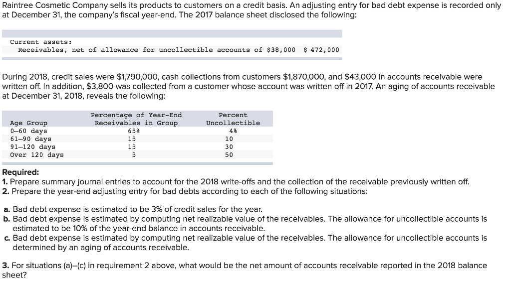 Solved: 1  Journal Entries: Record Accounts Receivable Wri