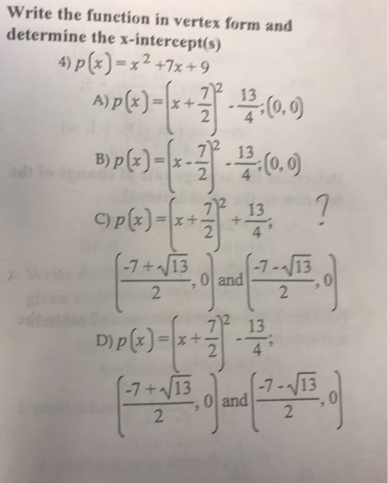 Solved Write The Function In Vertex Form And Determine Th