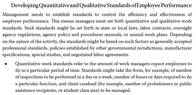 Developing Quantitativeand Qualitative Standards ofEmployee Performance Management needs to establish standards to control th