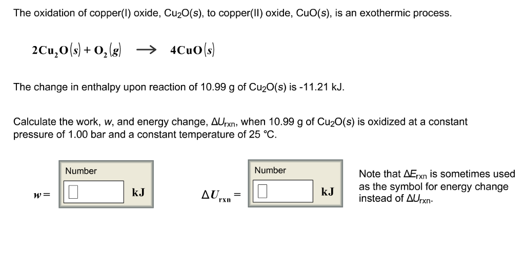 Solved: The Oxidation Of Copper(I) Oxide, Cu2O(s), To Copp ...