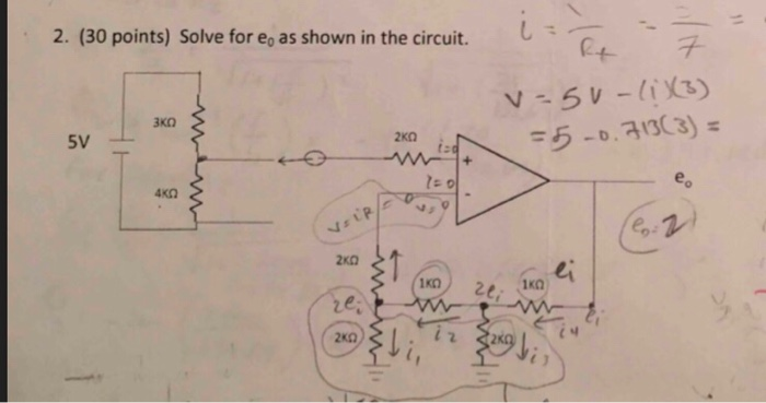2. (30 points) Solve for e as shown in the circuit. 2KO 40Ω Is 1KD 1KD 1녀