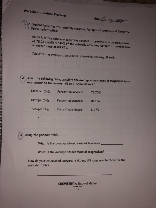 Solved: Worksheet: Isotope Problems 1. A Student Looked Up ...