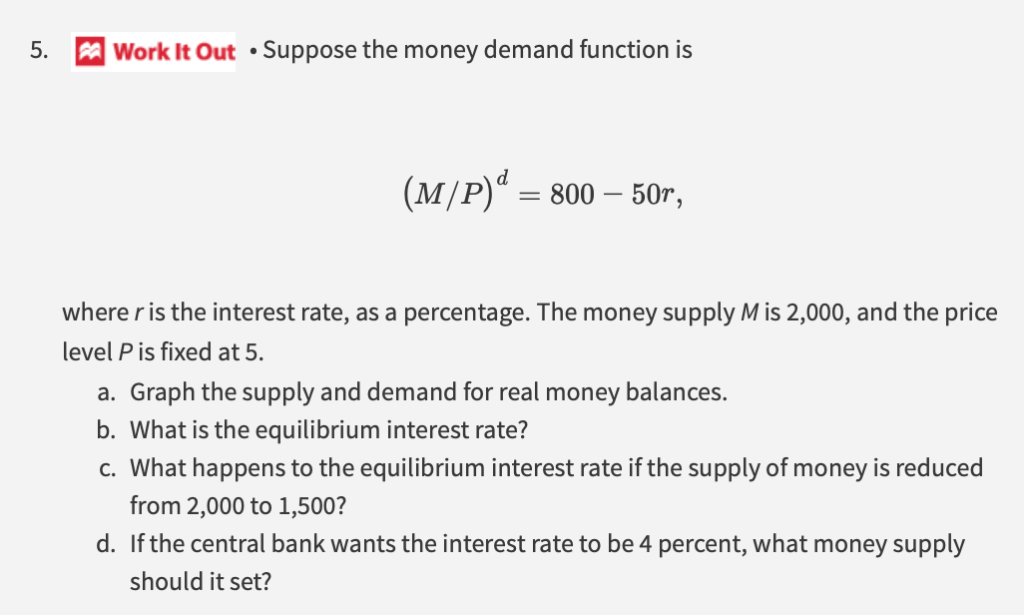 Solved: 5. Work It Out . Suppose The Money Demand Function... | Chegg.com