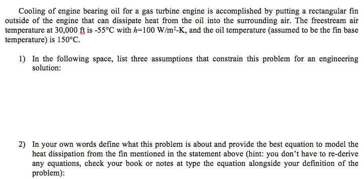 Solved: Cooling Of Engine Bearing Oil For A Gas Turbine En