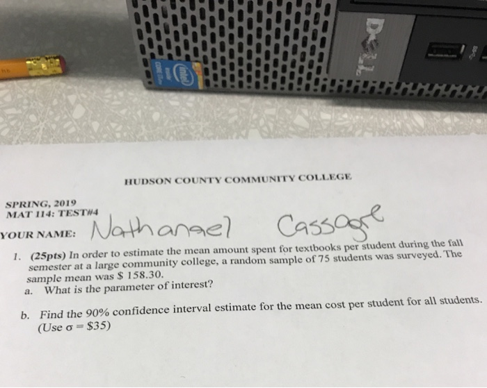 Solved: HUDSON COUNTY COMMUNITY COLLEGE SPRING, 2019 MAT 1