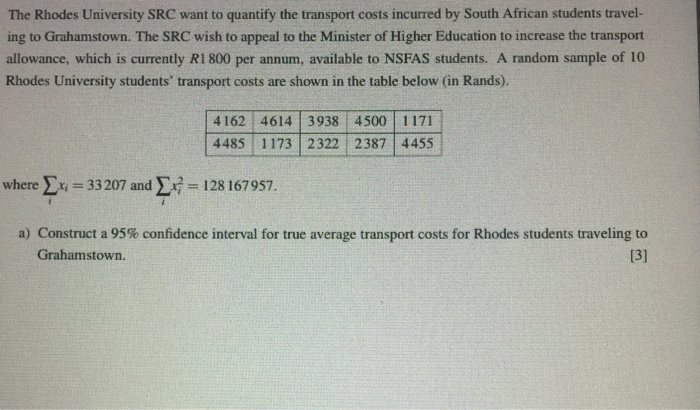 The Rhodes University Src Want To Quantify Transport Costs Incurred By South African Students Travel