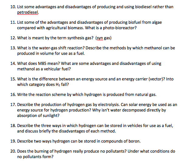 Advantages Of Natural Gas >> Solved 10 List Some Advantages And Disadvantages Of Prod