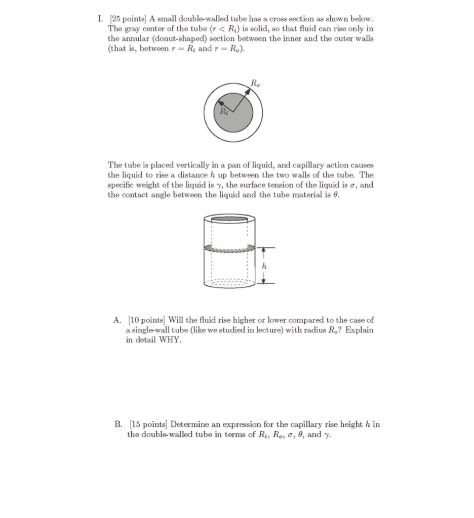 Solved: CIVIL ENGINEERING - FLUIDS QUESTION ABOUT CAPILLAR