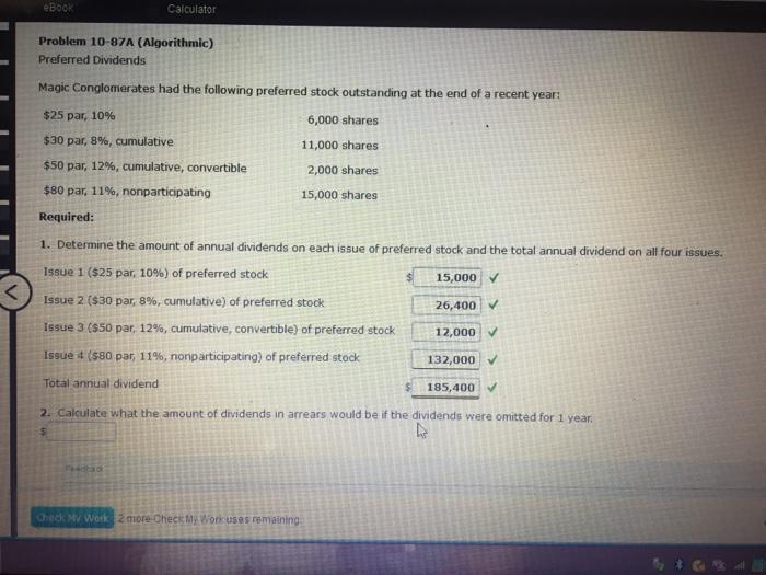 Solved: EBook Problem 10-87A (Algorithmic) Preferred Divid