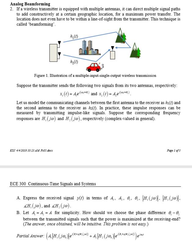 Analog Beamforming 2  If A Wireless Transmitter Is