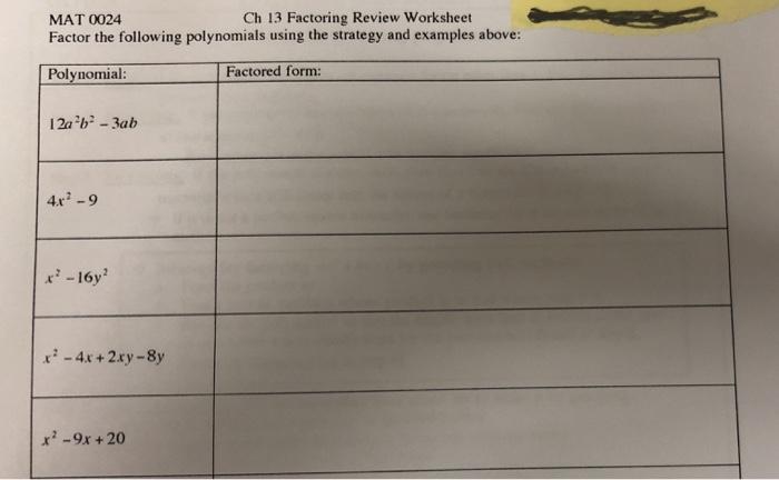 Solved Mat 0024 Ch 13 Factoring Review Worksheet Factor T