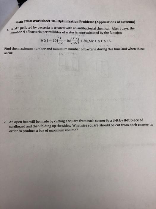 Solved: Math 2040 Worksheet 18-Optimization Problems (Appl ...