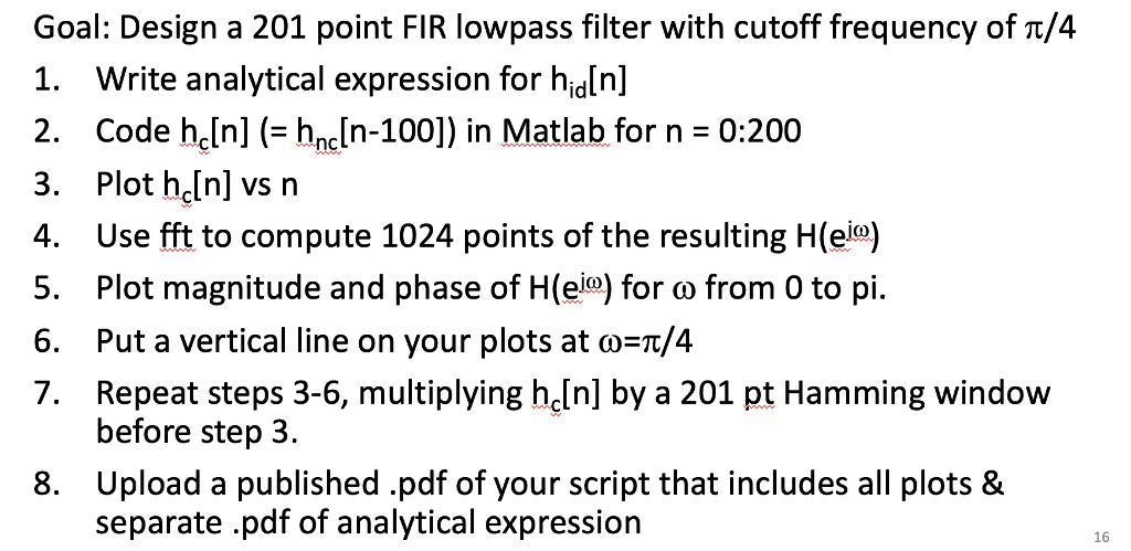 Solved: Goal: Design A 201 Point FIR Lowpass Filter With C