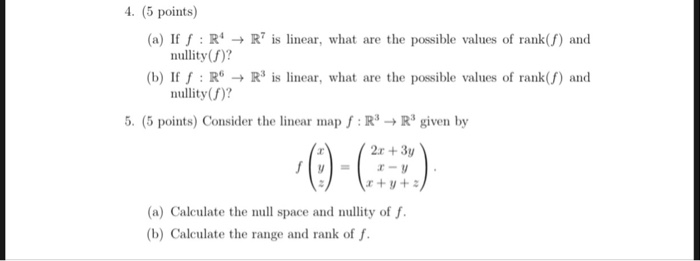 Solved:   (5 Points) (a) If F RR Is Linear, What Are The P