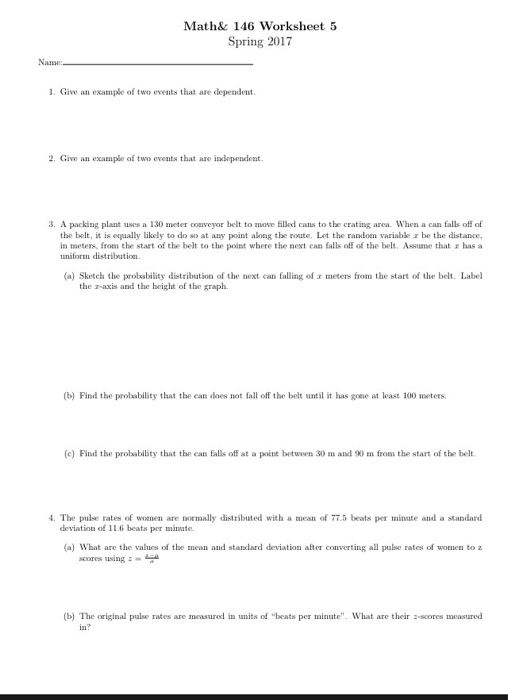 Give An Example Of Two Events That Are Dependent – Independent Events Worksheet