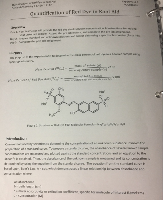 Solved Quantification Of Red Dye In Kool Aid General Chem