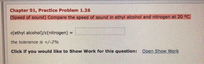 Solved: Chapter 01, Practice Problem 1 26 (Speed Of Sound