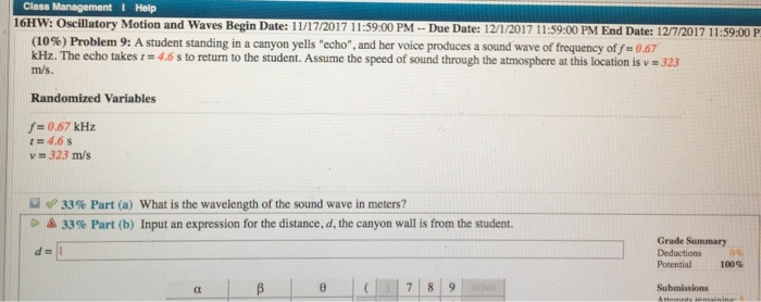 Solved: Class T I Help 16HW: Oscillatory Motion And Waves