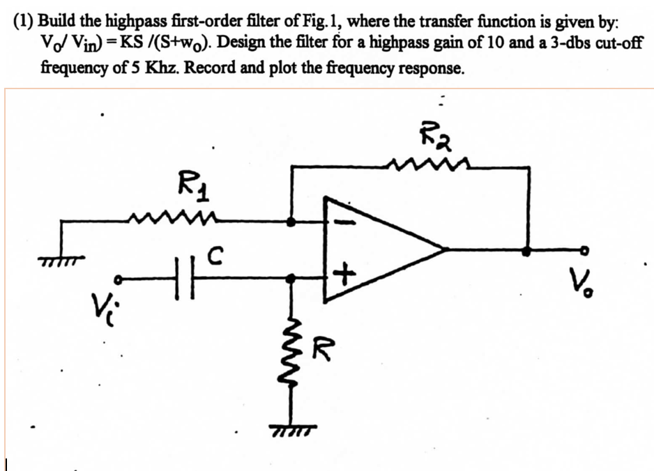 a2f248d22289 Solved  (1) Build The Highpass First-order Filter Of Fig.1 ...