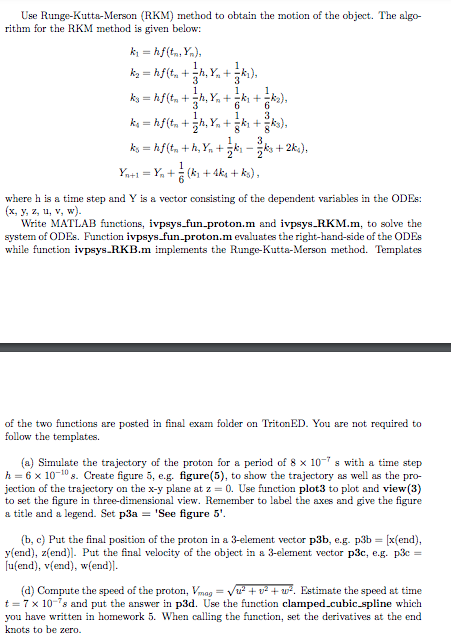 MATLAB CODE ONLY Function [t, Y] = Ivpsys_RKM(y0