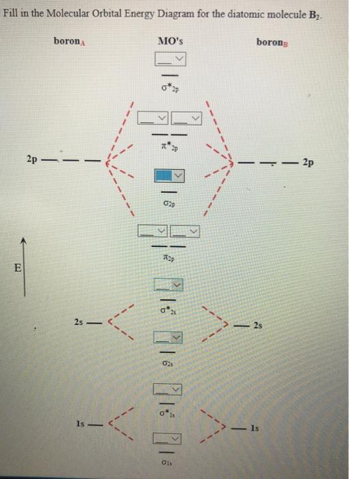 Solved: Fill In The Molecular Orbital Energy Diagram For T ... B2 Molecular Orbital Diagram