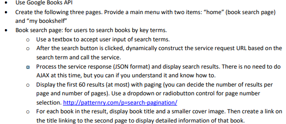 Use Google Books API Create The Following Three Pages Provide A Main Menu With