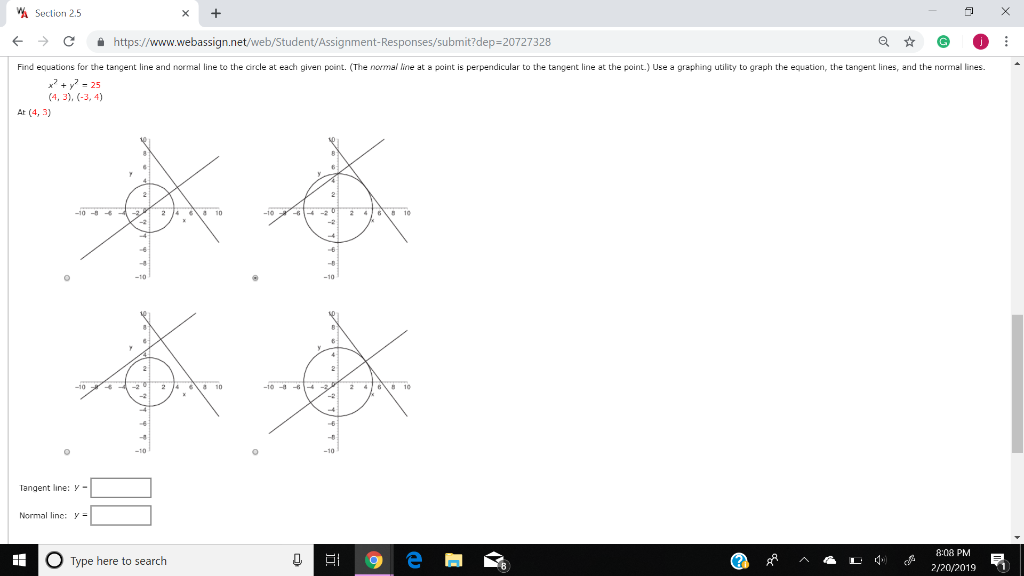Solved: Find Equations For The Tangent Line And Normal Lin