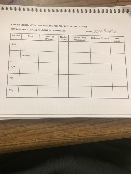 Solved: REPORT SHEET: COVALENT BONDING AND MOLECULAR STRUC ...