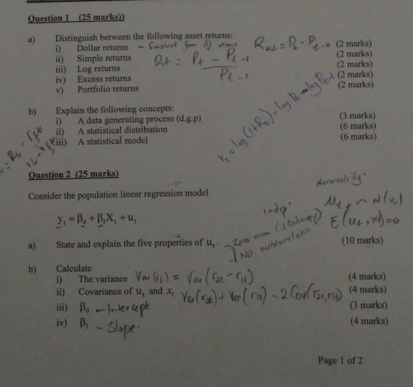 Question 1 25 Marks Owing Usset Ret Ru Rふ02