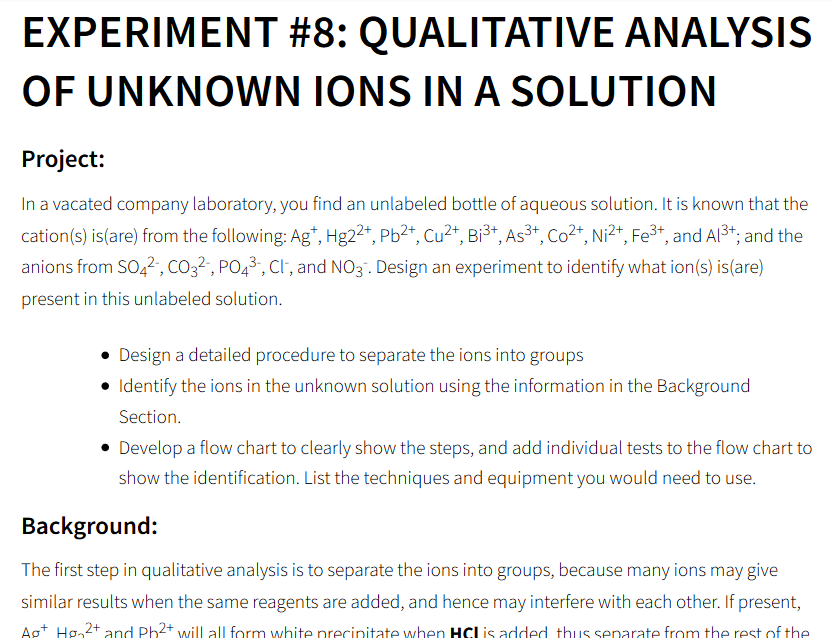 Experiment 8 Qualitative Analysis Of Unknown Ion Chegg