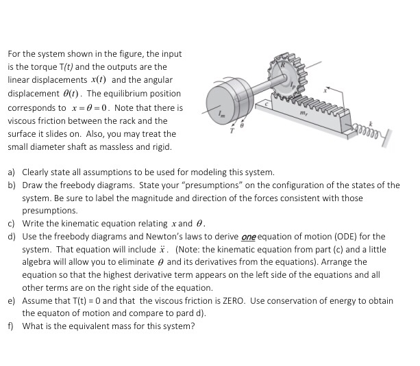 Solved: For The System Shown In The Figure, The Input Is T